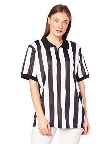 Crown Sporting Goods Women's Official Striped Referee/Umpire Jersey, Small, Black/White