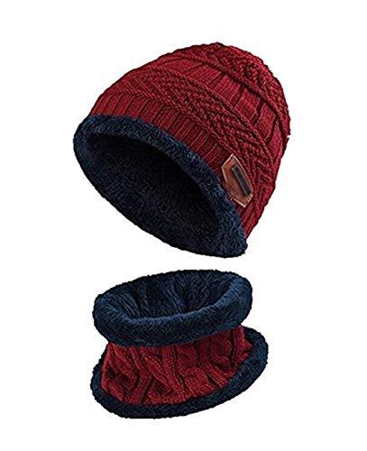Aisprts Cappello Uomo Invernali Lana Beanie in Maglia con Sciarpa, Cappello Sciarpa Uomo, 2 Pezzi Cappello da Sci all'aperto e Set Sciarpa Teschio Lavorato a Maglia con Fodera in Pile (Rosso)