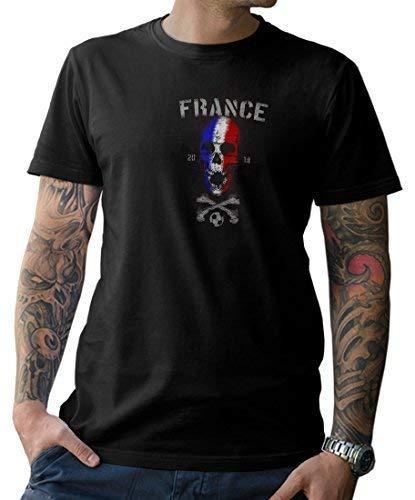 NG articlezz Camiseta de Hombre Francia Calavera con Frontal y Dibujo en la Espalda Fútbol WM 2018 Francia s-5xl - Negro/Negro, 4XL