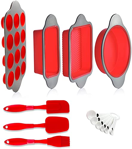 Set of 13 Silicone Baking Molds, Pans and Utensils by Boxiki Kitchen. Includes Silicone Cake Pan, Brownie Pan, Loaf Pan, Muffin Mold, 2 Spatulas, Brush and 6 Measuring Spoons.
