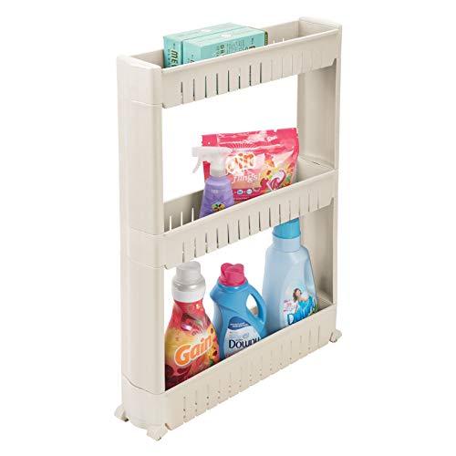 mDesign Mueble auxiliar para lavadero – Compacta estantería con ruedas para guardar detergentes, quitamanchas, etc. – Práctico carro de lavandería de plástico con 3 amplios estantes – gris topo/marrón