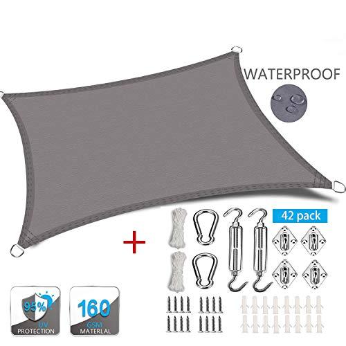 XXJF Toldo Vela Sombra Rectangular Protección UV para Resistente E Lmpermeable,toldo Vela De Patio Exteriores Jardín Exteriores, Jardín, (Color : Grey, tamaño : 6.5x7m)