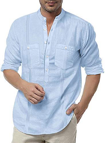 COOFANDY Camisa de Lino para Hombre de Manga Larga de algodón Moderno Camisa Ajustada de Negocios Ocio Vacaciones Playa Camisa Henly