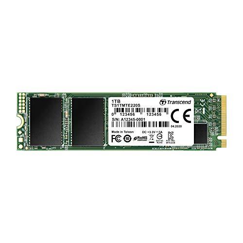 Transcend TS1TMTE220S 1TB M.2 Ultra-Highspeed SSD für High-End-Anwendungen (Gaming, digitale Audio- und Videoproduktionen etc.), schnelle Übertragung bis zu 3.500/2.700 MB/s, PCIe Gen3 x4, 2280