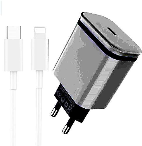 JuneyZz 18W Rapido Caricatore USB C e 2m Cavo, Caricabatterie Power Delivery PD 3.0 Carica batterie Ricarica Rapida Compatibile per iPhone 11 PRO Max/XS Max XR X SE, iPad, Airpods PRO