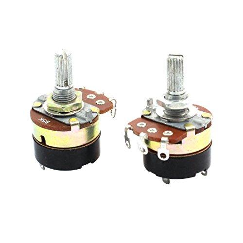 Aexit 2Pcs B5K 5K Ohm Potenciómetros de carbono con interruptor (model: U3078IVVIII-8609VZ) giratorio lineal simple