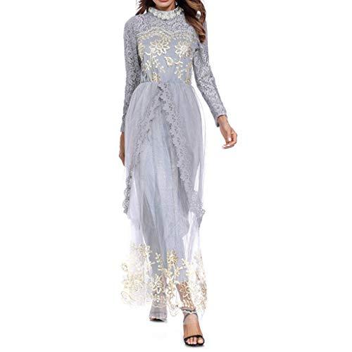 TWIFER Damen Spitze Maxi Loose Robe Casual Abendkleid Kaftan Kleid Maxikleid Lange Muslime Kleid Bautkleid Cocktailkleid