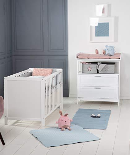 """roba Kinderzimmerset mit Wickelkommode """"Hamburg"""" mit 2 Schubladen und 2 Canvas Boxen, und Beistellbett ans Elternbett, höhenverstellbares Babybett, inkl. Lattenrost, Liegefläche 60x120 cm, weiß"""
