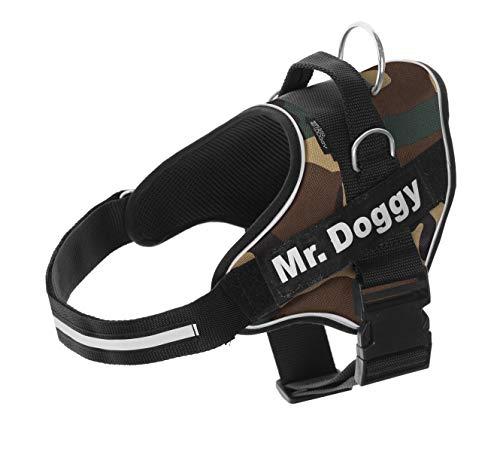 Arnés Personalizado para Perros - Estampado - Reflectante - Incluye 2 Etiquetas Personalizables con Nombre - Todos los Tamaños (Camuflaje, XS 3-7,5KG)