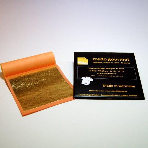 Feines essbares Blattgold 23 Karat - 80 x 80 mm 100 % Deutsche Qualität Menge 10 Blatt
