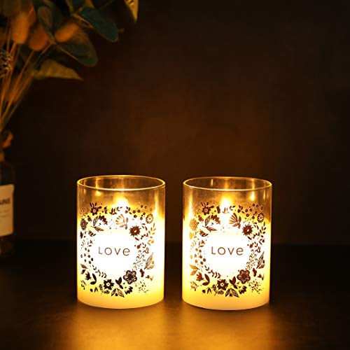 JHYDESIGN2つ個セットガラスワックスバッテリーキャンドル10cmの高さ移動炎LEDキャンドルダンス炎電気キャンドルちらつきフレームレスキャンドルホームパーティーSPAウェディング正月誕生日室内室外飾り6時間タイマー付き暖色光(LOVEの周りの花輪)