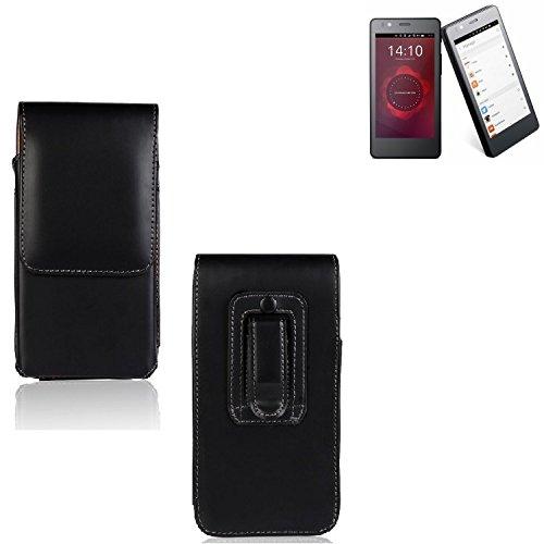 K-S-Trade Funda para BQ Aquaris E4.5 Ubuntu Edition, La Bolsa De Cinturón De Cuero De Imitación Color Negro | Elegancia Funcional Simple Llano. Teléfono Móvil Funda Caso Bolso