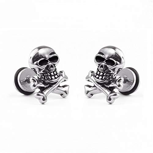 BaiXing Material titanium steel skull punk rock hip-hop tide dumbbell earrings earrings personalized jewelry for men and women