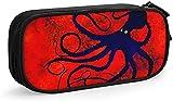 Golden Lily Vintage Bag Pen Case Durable Papelería Bolsa plegable para la escuela Oficina Pen Bag Gran Capacidad Lápiz Estuche Estuche 2 Pulpo en Rojo Set de Estándar Talla Única