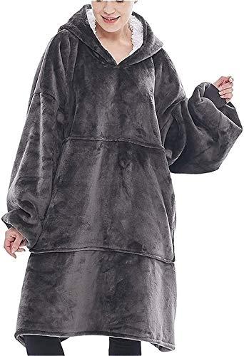Sudadera Tipo Manta, Manta portátil con Sudadera con Capucha de Gran tamaño, Bolsillo Frontal Grande Suave, cálido y cómodo para Adultos (Color : Gray)