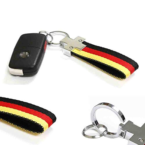 iJDMTOY Germany Flag Black/Red/Yellow Color Stripe Nylon Strap w/ Keychain Ring Compatible With Euro/German Cars