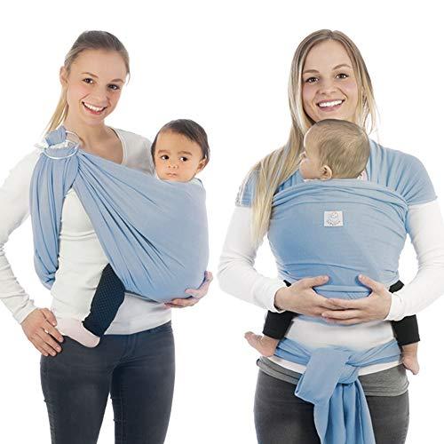 Babytragetuch & Ring Sling 2 in1, Elastisches Baby Tragetuch mit Aluminium-Ringe für Neugeborene. Babytrage & Tragehilfe mit Trageanleitung. Ergobaby BabyBino Wickeltuch das perfekte Geschenk,hellblau