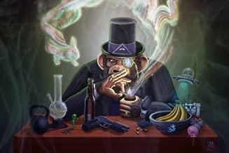 Prague Courtney 24X36 InchThe Joe Rogan Experience Monkey Smoking Pipe Monocle Hat Ufo Psychedelic Drugs Beer