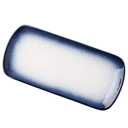Plato de cerámica retro azul placa de cerámica para restaurante sushi placa de 32,4 cm Utensilios para el hogar Plato rectangular Plato de pescado Regalos (color azul, tamaño: 32,4 x 15 x 2,6 cm)