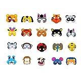 FLZONE Máscaras de Animales,20 Piezas EVA Fiesta Máscaras para Niños,Fiesta de Cumpleaños,Navidad y Halloween