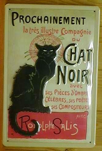 Buddel-Bini Versand Plaque en tôle - Motif chat noir