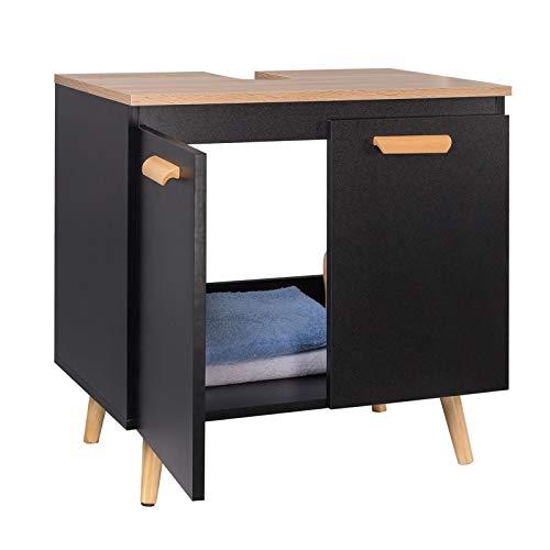 EUGAD Mueble de Baño Armario Bajo Lavabo Mueble para Debajo de Lavabo Mueble Lavabo de Baño Almacenamiento con 2 Puertas 60x40x60.5cm Negro/Roble 0137WY