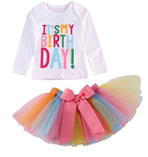 Girls'It's My Birthday Print Shirt Tutu Skirt Dress Outfit Set (White Long Sleeve, 2-3 Years)
