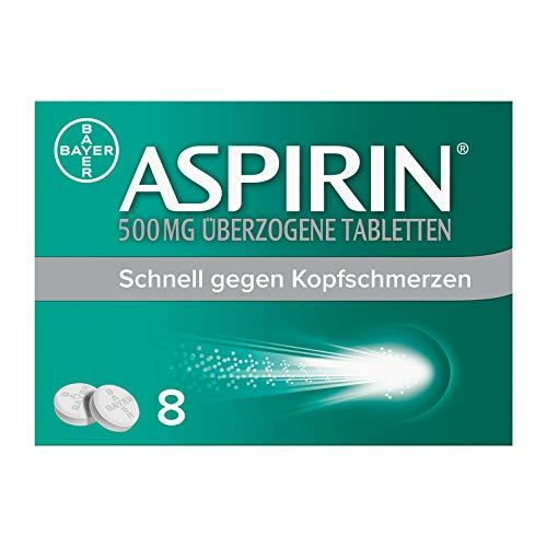 Aspirin 500mg überzogene Tabletten, besonders schnell und effektiv gegen Kopfschmerzen bei guter Verträglichkeit, 8Stück