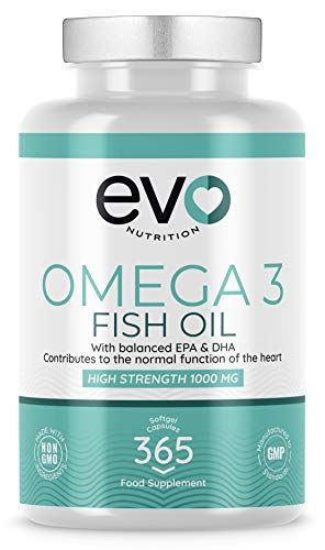 Omega 3 1000mg Fish Oil Soft Gels | Pure Fish Oil with Balanced EPA & DHA | 365 Soft gels - 1 Year's Supply Omega3 | Highly Absorbent | GMO Free | Contaminant Free | Produced in The UK