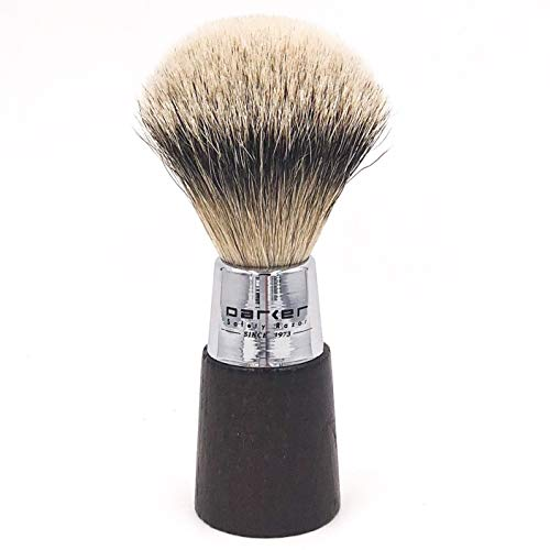 Parker Safety Razor Fait à la main Blaireau - 100% Silvertip Poils de Blaireau Brosse à raser - et poignée chromée - Pinceau support inclus Noyer
