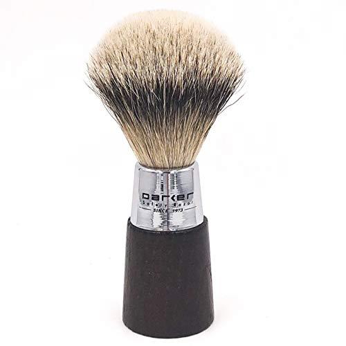 Parker Safety Razor Handmade Shaving Brush - 100% Silvertip Badger Bristle Shave Brush - Walnut & Chrome Handle - Brush Stand Included