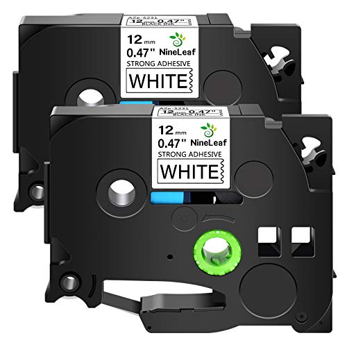 NineLeaf 2 Pack Compatible for Brother P-Touch TZe-S231 TZeS231 TZ-S231 TZS231 1/2inch 12mm 0.47'' Extra Strength Adhesive Laminated Black on White Label Tape Work in PTD210 PTD600 PTD400 Label Maker