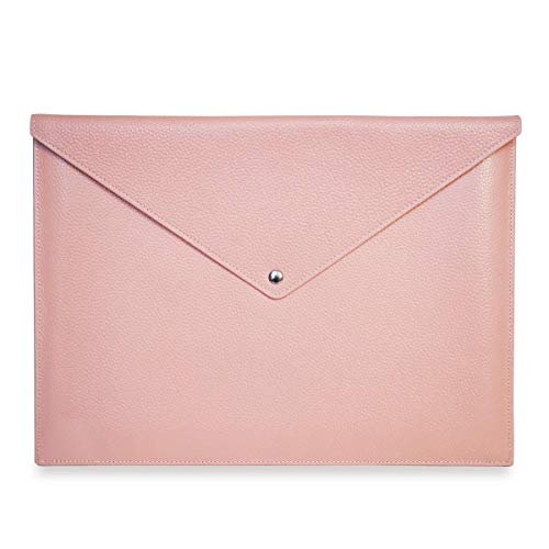 Real Full Grain Leather Laptop Case/Sleeve Bag for New 13' inch MacBook Pro Retina (2016-2020), New (2018-2020) MacBook Air 13', iPad Pro12.9, Microsoft Surface Pro 12.9' (Pale Pink)