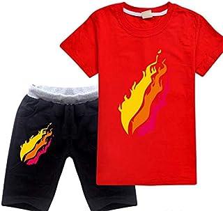 22?style?Preston Playz prestonplayz Gamer Flame Unisex Kids Short Sleeve Set
