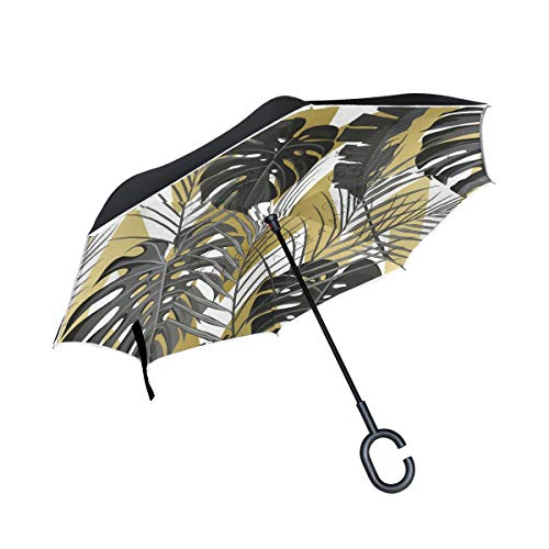 ISAOA Doppellagiger umgekehrter faltbarer Regenschirm, selbststehender und umgekehrter Autoschirm, Amerika USA Hawaii Nostalgie Winddicht Regen umgekehrt Regenschirm mit UV-Schutz