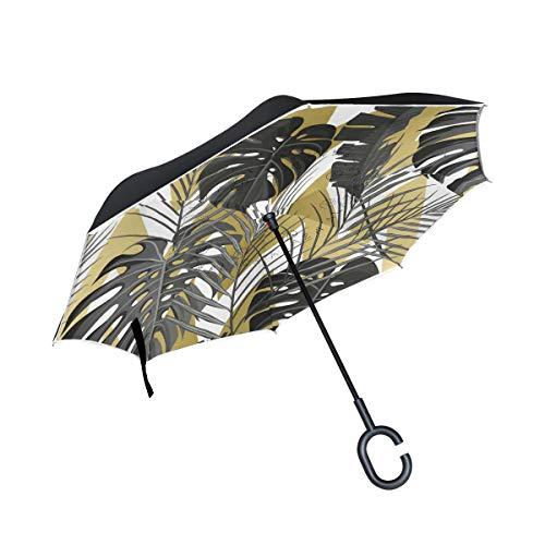 ISAOA Doppelschichtiger umgekehrter Regenschirm, selbststehend und innen außen, Auto-Regenschirm, Amerika, Hawaii, Nostalgie, Winddicht, regenverkehrter Regenschirm mit UV-Schutz