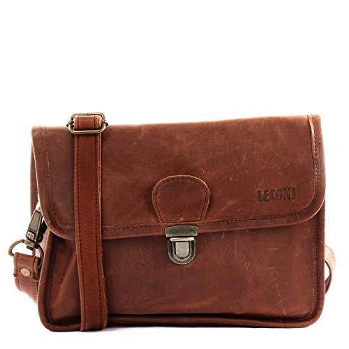 LECONI kleine Schultertasche Umhängetasche Damen Ledertasche Handtasche echtes Rindsleder 26x20x8cm braun LE3041-wax