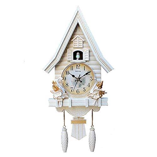 DongSheng Mini Reloj de Cuco Moderno, Reloj de Pared de la casa del árbol Reloj de Pared de Cuco Moderno, Sala de Estar, Dormitorio, Sala de niños, Reloj, Reloj de Cuarzo silencioso, Rojo,Blanco