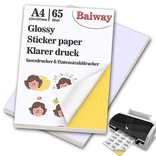 BaiWay Universal Etiketten Selbstklebend 65 Blatt 210 x 297 mm, Glänzende Druckerpapier A4 Aufkleber Papier Etikettendrucker Bedruckbar für Büromaterial Laser und Tintenstrahldrucker