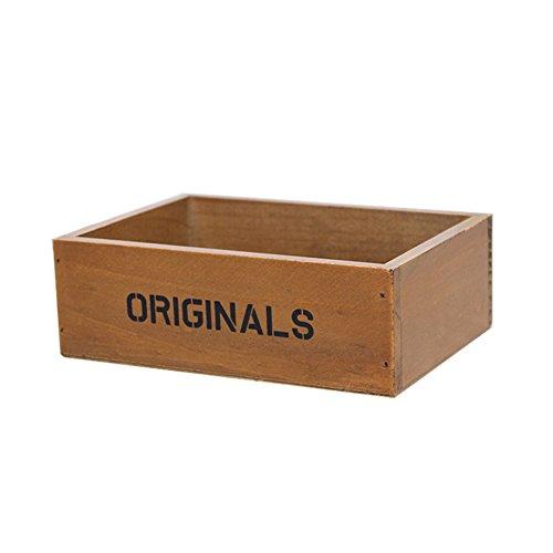 Fablcrew Boîte de rangement en bois pour plantes 19 x 13 x 6,5 cm Marron