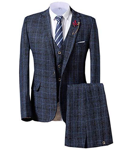 Men's Suit Plaid Tweed Slim Fit Suit Checkered 3 Piece Dinner Wedding Tuxedos (44,Navy