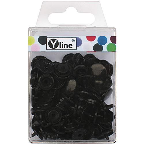KAM Snaps 3102 - Botones de presión (plástico, 25 unidades, 12,4 mm), color negro