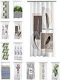 one-home Duschvorhang 180x200 cm wasserabweisend Badewannen Vorhang inklusive 12 Ringe, Farbe:Feder Ornament