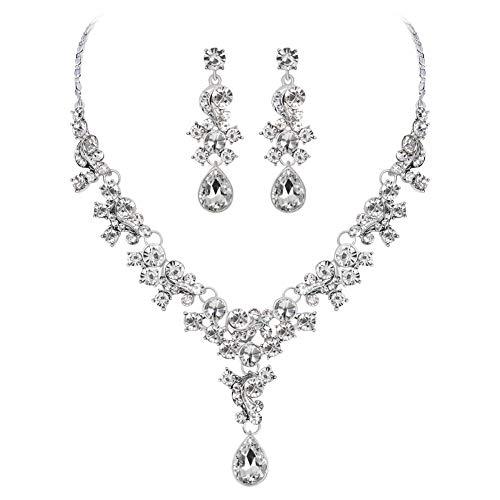 osyare Moda Mujer Diamantes De Imitación Collar De Flores Pendientes De Botón De Oreja Conjunto De Joyas De Boda para Fiesta Blanco