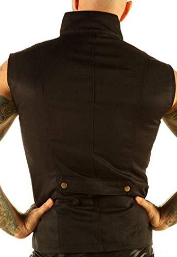 Leatherotics Men's Steampunk Military Waistcoat Vest Top Mandarin Collar SPA1 (XSmall) Black