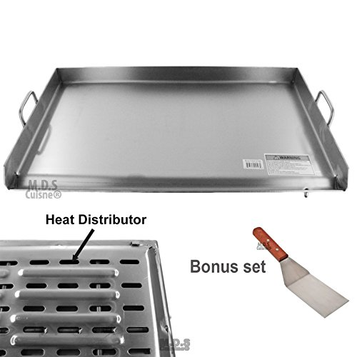 M.D.S Cuisine Cookwares Griddle Stainless Steel Flat Top with Reinforced Brackets Under Griddle-Heat Distributor Heavy Duty Comal Plancha 36' x22'