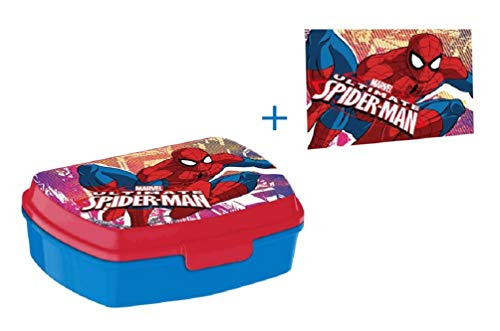 Marvel Spider-Man Brotdose Set Lunchbox & Waschlappen