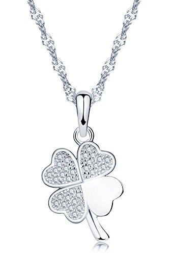 Yumilok, ciondolo a forma di quadrifoglio portafortuna in argento Sterling 925, con zirconia cubica, per donne/ragazze