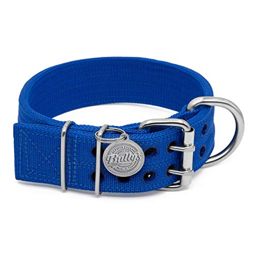 Bully's Pitbull Halsband, Hundehalsband für Große Hunde, Schwere Pflicht Nylon, Edelstahl Hardware, XXL-2 inches Wide, Saphirblau