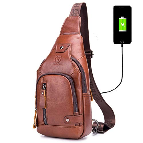 BULLCAPTAIN Sling Bag Crossbody Backpack with USB Charging Port Genuine Leather Hiking Travel Daypack XB-129 (Brown)